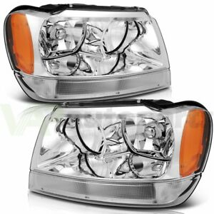 Fits 1999 2004 Jeep Grand Cherokee Headlights Left Right Replacement Headlamp