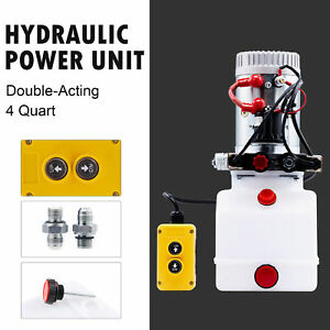 Double Acting 4 Quart 12v Hydraulic Pump For Dump Truck Bed Aerial Platform More