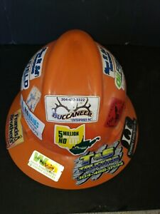 Msa V gard Hard Hat Used Orange Type 1 Class E With Fas trac Lots Of Stickers