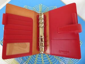 Franklin Covey Red Leather Compact Organizer Planner Binder 1 Rings Snap