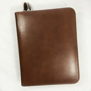 Day Timer Brown Faux Simulated Leather Zip Binder 7 Ring Vintage 1990s