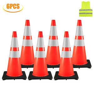 6x28 Traffic Safety Parking Cones Reflective Collars Warning Roads Construction