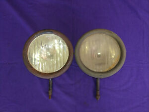 Vintage Original Pair Early 1914 Ford Model T Headlight Lamp Bucket Assembly