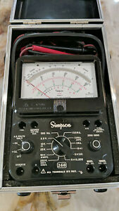 Simpson 260 Series 8 Analog Multimeter Tester Hard Case Probes New Batteries