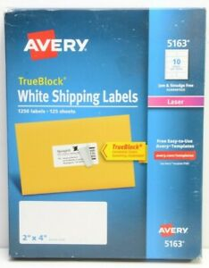 Avery 5163 White Shipping Labels 2 X 4 laser 125 Sheets 1250 Labels New