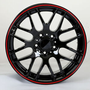 Black Red W703 Wheels Rims For Bmw 3 5 Series 2001 2019 Front 19 Inch