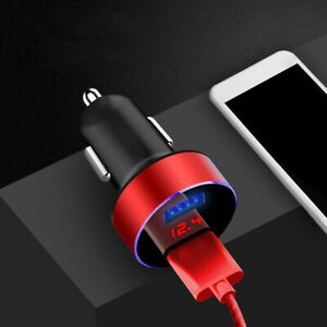 Red Usb 3 1a Car Charger Adapter Led Display Dual Port Digital Voltmeter Charger