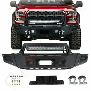 Front Bumper Guard For Ford F 150 09 14 Steel Winch Led Lights Textured Black