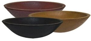 Farmhouse Primitive Wood Dough Bowl Red Or Mustard 6