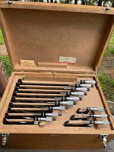 Excellent Set Of 12 Starrett 436m Metric Outside Micrometers 0 300mm Standards