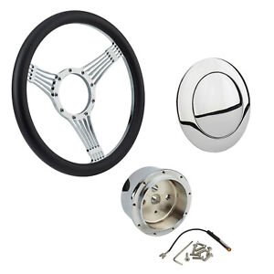 Chrome Banjo Steering Wheel W Steering Wheel Adapter And Horn Button