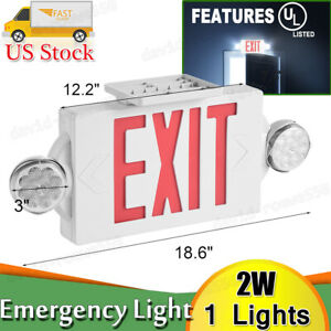 Led Exit Sign Emergency Light hi Output Compact Combo Ul Listed red