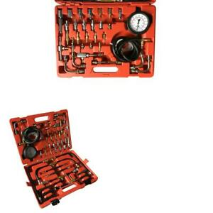 Professional Fuel Injection Pressure Tester Gauge Kit System 0 140 Psi For Cars