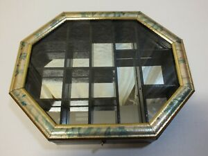 Vintage Wood Display Case Box Storage Small Showcase With Glass With Mirror