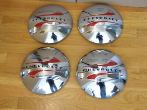 Vintage Nos Set Of 1941 1948 Chevrolet Dog Dish Poverty Hubcaps Wheel Covers