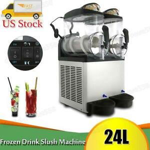Double Bowl Margarita Slush Frozen Commercial Drink Machine 24l Ice Maker