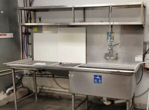 Stainless Steel Sink 94x34 Oversized Tub With Left Drainboard With Chute 14 Gaug