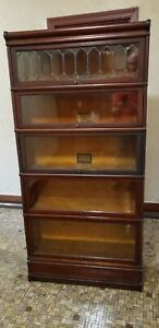 Antique Globe Wernicke Barrister Lawyers Bookcase L3aded Glass