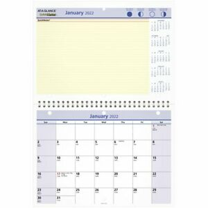 At a glance Quicknotes Monthly Desk wall Calendar 11 X 8 January 2022 To