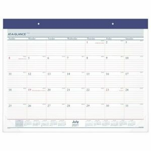 At a glance Two color Academic Monthly Desk Pad Calendar 21 3 4 X 17 July