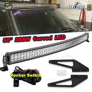 Roof 50 Curved Light Bar Bracket Wire Kits For 93 98 Jeep Grand Cherokee Zj