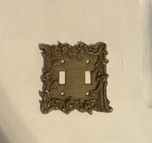 Vintage Double Light Floral Switch Cover Plate Rose Floral Gold Brass