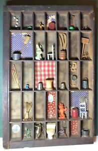 Vintage Handmade Wooden Wall Shadow Box Miniatures 32 Sections Primitive Shabby