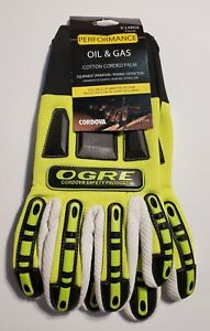 Lot Of 7 Oil Gas Safety Work Gloves Mens Size Xl Ppe New Cotton Corded Palm