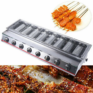 Outdoor Commercial Desktop Stainless Steel Lpg Gas 8 Burner Bbq Grill 2800pa