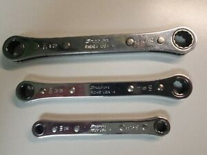 Snap on Sae Flip Ratchet Wrench 3pc Set R810 R1618 R1214