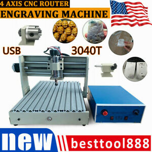 Usb 4 Axis 3040 Cnc Router Engraver Metal Work Engraving Milling Machine 400w