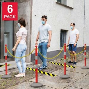 6 Pack Plastic Stanchion C hooks Fillable Base Crowd Control W 30 Yellow Chain