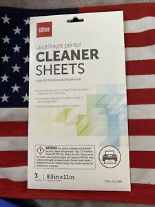 Office Depot Laser Injet Printer Copier fax Cleaner Sheets Cleans Rollers 3 Sht