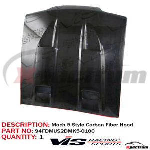 Vis Racing Gloss Black Carbon Fiber Mach 5 Style Hood For Ford Mustang 94 98