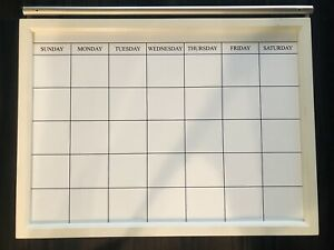 Pottery Barn Magnetic Whiteboard Calendar Versatile Daily White top Display Rod