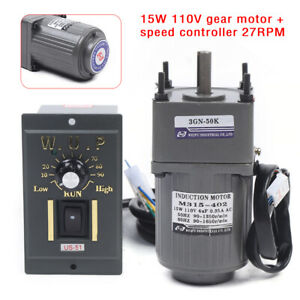 15w 110v Gear Motor Electric Variable Speed Controller 27rpm High Torque 1 50