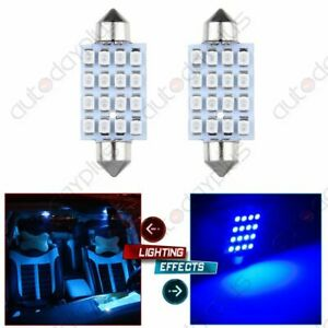 2x Blue Replace 42mm 16 Smd 3528 Car Interior Festoon Led Lights For Dome Map