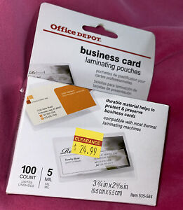 Office Depot Business Card Credit Card Id Laminating Pouches 100pcs 5 Mil