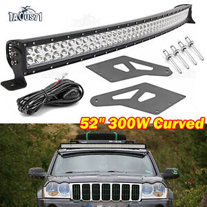 Roof 52 Curved Led Light Bar Mounts Bracket Wire For 99 10 Jeep Grand Cherokee
