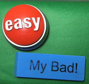 Staples easy Button that Was Easy W Batteries my Bad Giant Blue Eraser