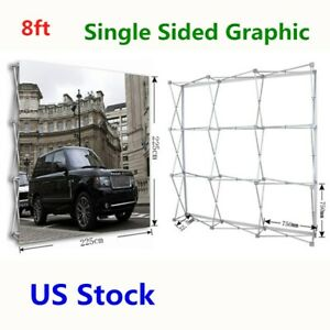 Usa 8ft Tension Fabric Pop Up Display Backdrop Stand Trade Show Exhibition Booth