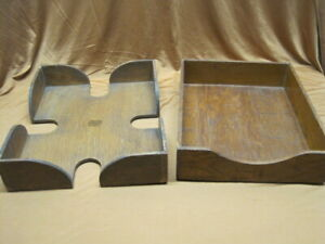 Pair Vintage Wood Dovetail Paper Desk Trays Letter File Home Office Organize Box