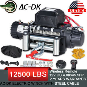 Ac Dk 12v 12000 Lb Electric Winch Steel Cable Towing Truck Trailer Jeep 4wd Ip67