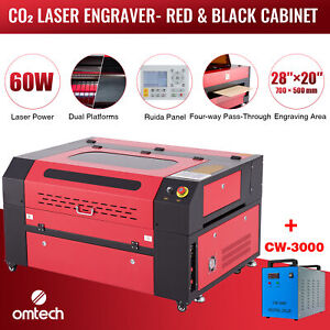 Omtech 60w 28 x20 Co2 Laser Engraver Cutter Ruida With Cw 3000 Water Chiller