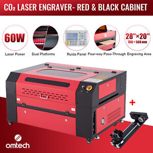 Omtech 60w 28 x20 Co2 Laser Engraver Cutter Engraving Ruida With Rotary Axis C