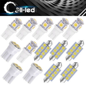 14x T10 42mm Wedge White Interior Led Dome License Plate Bulbs Package Light Kit