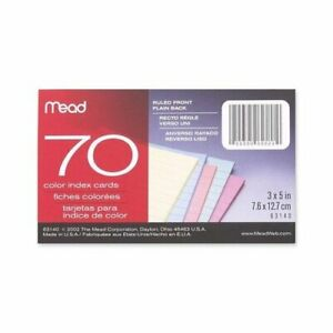 Index Cards Ruled 70 Sheets 3 x5 Assorted set Of 4