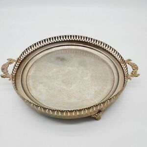 Silver Plated Serving Tray With Handles Footed Circle