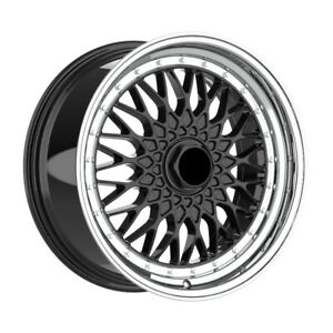 4 Wheels 18 Inch Black With Polish Lip Rims Fits Acura Tl Type S Except Brembo