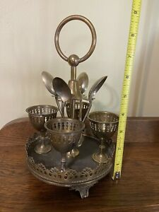 Antique Silver Plated Breakfast Boiled Egg Cruet Set 4 Egg Cups Unknown Maker